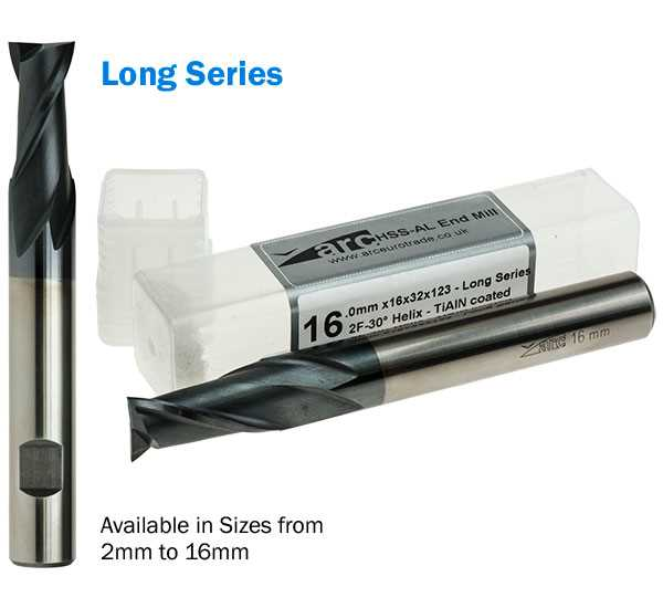 2 Flute HSS-AL End Mill - Long Series - TiAlN Coated