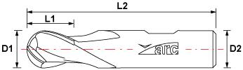 2 Flute HSS-AL Ball Nose End Mill - Standard Length - Drawing