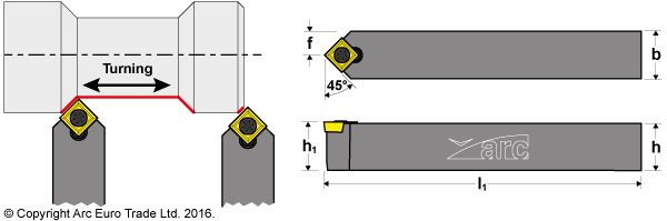 ARC SSDC-N 45deg Turning Tool Holders - Diagrams