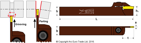 ARC MGEH Parting and Grooving Tool Holders - Diagrams