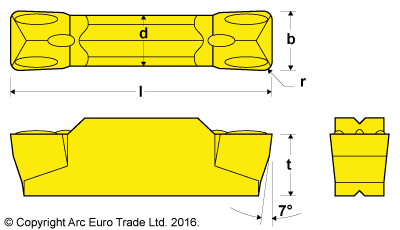 MGMN 200 Rectangular TiN Coated Carbide Inserts - Diagrams