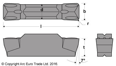 MGMN 200 Rectangular AlTiN Coated Carbide Inserts - Diagrams