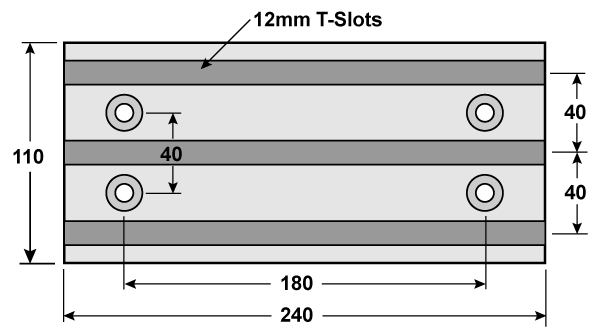 Milling table dimensions