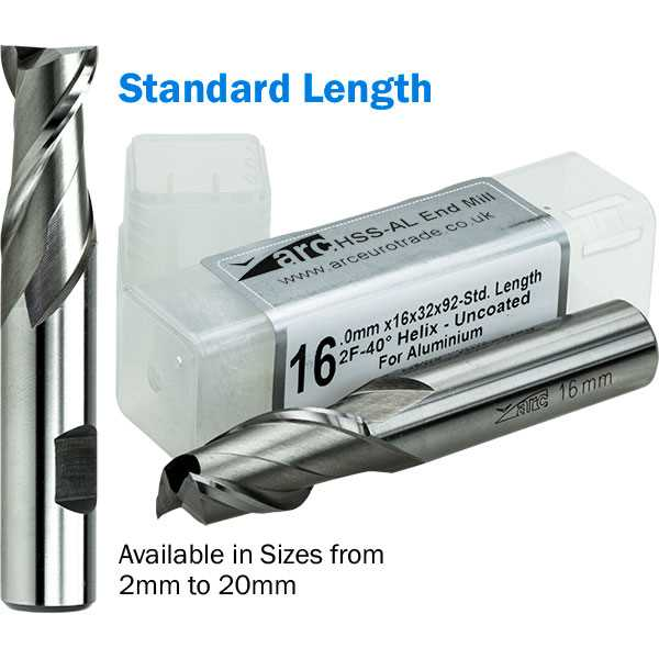 2 Flute HSS-AL End Mill For Aluminium - Standard Length - Uncoated