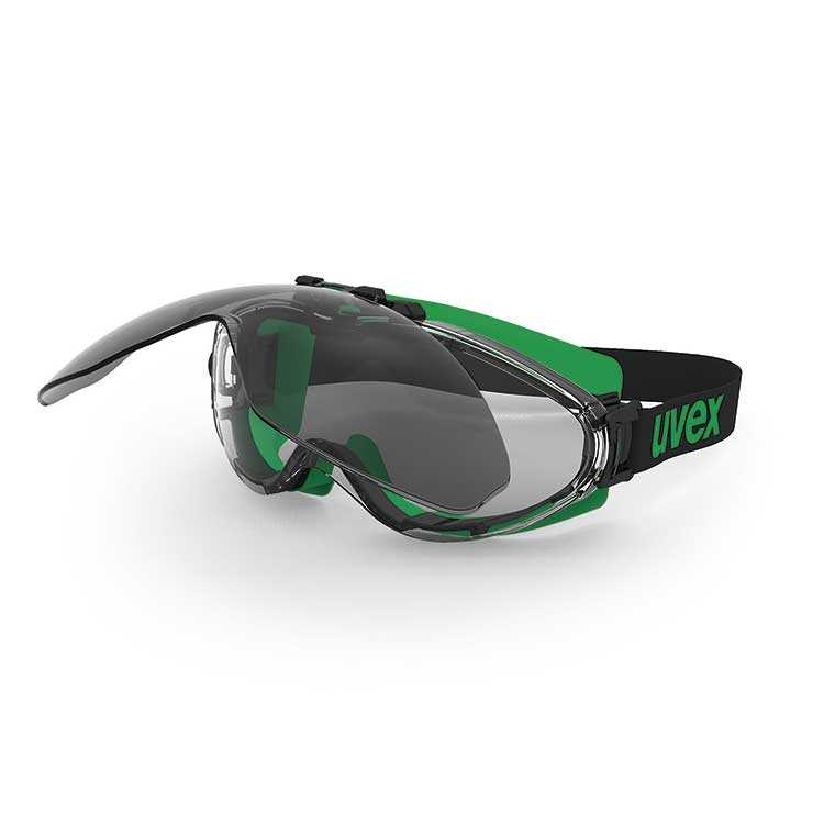 uvex ultrasonic Supravision Excellence/Infradur - Black/Green Frame - Clear/Grey Lens (U9302-043)