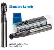 2 Flute Carbide Ball Nose End Mill - Standard Length - TiAlN Coated