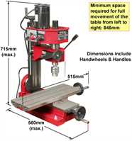 SIEG SX1L Mill - Dimensions