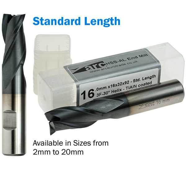 3 Flute HSS-AL End Mill - Standard Length - TiAlN Coated