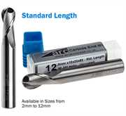 2 Flute Carbide Ball Nose End Mill For Aluminium - Standard Length - Uncoated