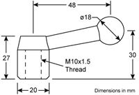 Model 000 QCTP Mod Kit for Myford - Handle Dimensions