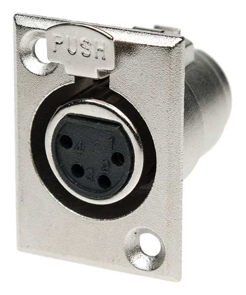 4 Way XLR Chassis Socket - Nickel Plated