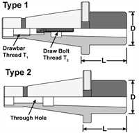 ISO - Morse Taper Adaptors (Drawbar Type) Diagram