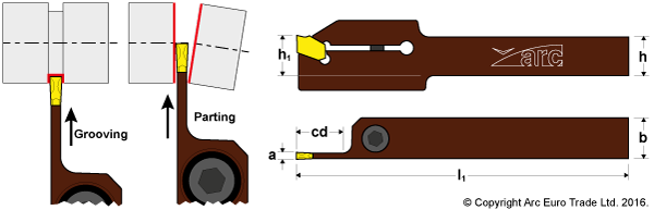ARC QA Parting and Grooving Tool Holders - Diagrams