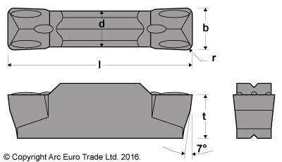 MGMN 200 Rectangular AlTiN Coated Carbide Inserts - Diagrams