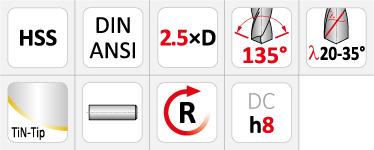 Dormer A022 TiN-Tip Coated HSS Stub Drills